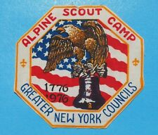 1976 ALPINE SCOUT CAMP JACKET PATCH  PRINTED   GREATER NEW YORK COUNCILS - c3691