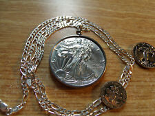 """2018 Silver Eagle .999 Coin Pendant on a 20"""" Italy Sterling Silver Link Chain"""