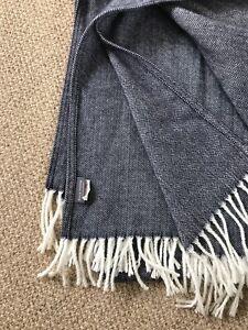 ROCA HOME Fringed Navy Herringbone Blanket Throw 130 x 170cm