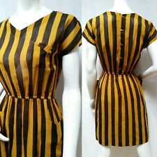 Vintage Black & Yellow Stripe Semi-Sheer Button Back Dress - Size S - EUC