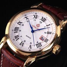 Orkina Men's Date Golden Case Brown Leather Roman Number Analog Quartz Watch