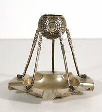 1890s SHEFFIELD SILVER FIGURAL GOLF MOTIF MATCH HOLDER & ASHTRAY GUTTY BALL