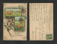 1913 EASTER GREETINGS { CHICKS - RUNNING and STANDING } POSTCARD