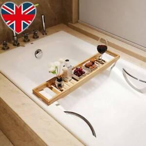 Luxury Bamboo Over The Bathtub Storage Rack Caddy Shelf Tidy Tray Holder