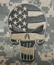 PUNISHER SKULL US WAVING FLAG ARMY BADGE ACU LIGHT VELCRO® BRAND FASTENER  PATCH