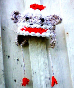 SOCK MONKEY HAT with EAR FLAPS - HAND MADE in USA  L@@K