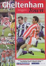 Football Programme>CHELTENHAM TOWN v TORQUAY UNITED Sept 2001