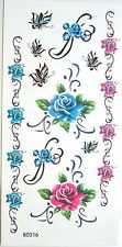 Red And Blue Roses Butterflies Armbands Temporary Tattoos #HM50108
