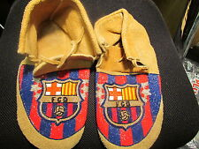 NATIVE AMERICAN USED FULL BEAD MOCCASINS WITH BEADED DESIGN OF  FC BARCELONA