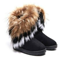 FREE SHIP #US Store Women Winter Warm Ankle High Snow Boots Fox Fur Thick Shoes