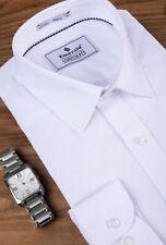 Men's new ivory white regular collar cotton mix wedding,formal office shirt