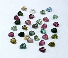 75 Piece Natural Multi Tourmaline Loose Gemstone 5X4mm Pear Faceted Cut Lot S913