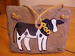 """SLATE HANDPAINTED COUNTRY COW WALL DECOR - 5 1/2"""" x 4 1/4"""""""