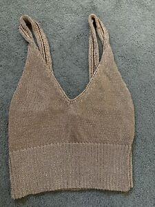 Topshop Rose Gold Metallic Knit Crop Top Size 6