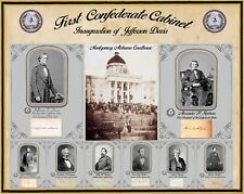 Inauguration of Jefferson Davis, Poster w/all cabinet photos & autographs 16x20""