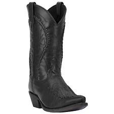 Laredo Mens Laramie Western Cowboy Boots Stitched Leather Pull On Snip Toe Black