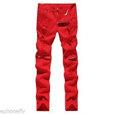 Men's Casual Skinny Slim Biker Pants Knee Zipper Distressed Ripped Denim Jeans ~