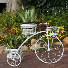 3 TIER White Wrought Iron Bicycle Pot Plant Stand High Wheeled Indoor Garden