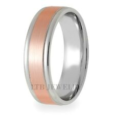 White And Rose Gold Wedding Rings 6Mm 14K Two Tone Gold Mens Wedding Bands,Solid