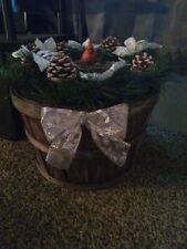 New Listinghand painted basket decorated with garland, pine cones, poinsettias and holly