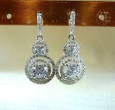 4.95ct White Cubic Zirconia Rhodium Over Sterling Silver Double Halo Earrings