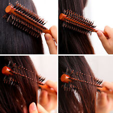 Useful Round Wooden Handle Hairdressing Boar Bristle Curling Hair Comb Brush AU