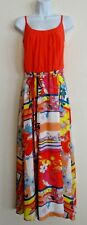 Robbie Bee Women's Orange Multi Floral Maxi Dress Size 10
