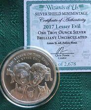 Wizards of US #1 - 1 oz 2017 Lesser Evil BU Silver Shield Trump MAGA Merica
