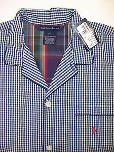Polo Ralph Lauren Luxury Pajama Top Night Shirt Blue Gingham Plaid or Purple NWT