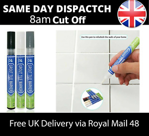 Grout Pen-Anti-Mould Reviver-Repair-Restoration Whitener-Renew Cleaning Brush