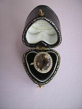 18ct yellow gold diamond and smokey quartz ladies dress ring, size L/M