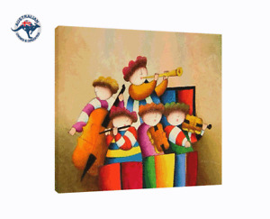J. ROYBAL REPRO CANVASOIL PAINTING OF CHILDREN BAND HAND PAINTED (NO FRAME)