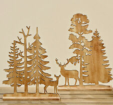 Reh + Hirsch im Wald Holz 2er-Set 22 cm (325550) Aufsteller Weihnachtsdeko