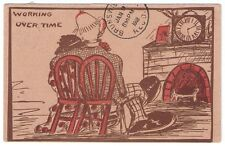 Antique Working Over Time Funny Cartoon Comic Postcard Used 1908