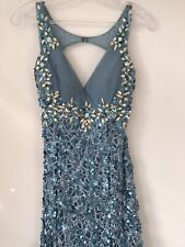 Prom Dress Size 6-8 Blue sequins Worn Once Party Gown Full Length £400 Stunning