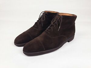 George Cleverley Brown William Cap-toe Suede Boots Size 10