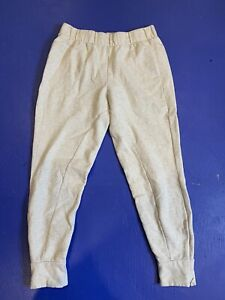"""Fabletics High Rise Jogger Sweatpants Sz Small Solid Ivory Zip Ankle 25"""" Inseam"""