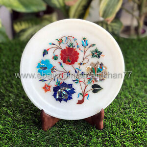 Floral Wall Plate Marble Inlay Decorative Serving Platter New Home Gift