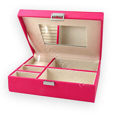 Travel Leather Shocking Pink Jewellery Case with Mirror