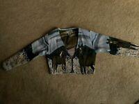 Large Jacket Horse Western Southwest Canyon Vintage Look Bolero Tapestry Look