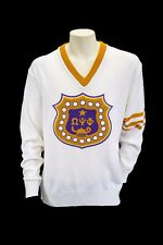 Omega Psi Phi White Old School VNeck Sweater