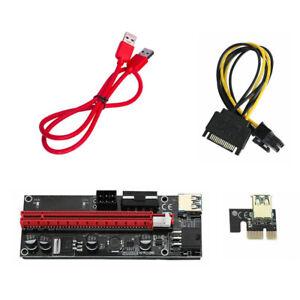 6 Pcs VER009S PCI-E Riser Card PCIe 1x to 16x USB 3.0 Data Cable GPU Mining New
