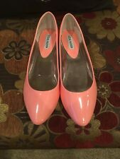 0a7d3a392 Steve Madden Women's Ibiza Flats Pointed Toe Patent Coral Size 10M Brand New