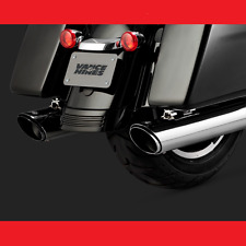 "VANCE & HINES TWIN SLASH ROUND SLIP-ON MUFFLERS CHROME 4"" HARLEY 2017 TOURING"