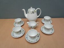 VINTAGE ALFRED MEAKIN GLO WHITE PART COFFEE SET WITH LEAF PATTERN