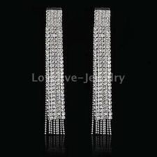 Wedding Bridal Silver Diamante Crystal Rhinestone Tassel Long Dangle Earrings