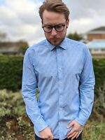 """Ted Baker Endurance 15"""" Blue & White Paisley Fitted Shirt Men's Smart Casual"""