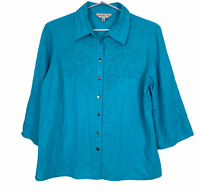 Noni B Womens Blue Sequined Linen Blend 3/4 Sleeve Button Up Blouse Size 10