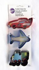 Wilton Cookie Cutter Set Car Plane Train Shape 3 Cutters Metal New Free Shipping