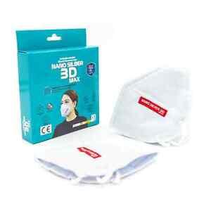 4 x NANOSILBER 3D Mund-Nasenschutz Weiß Antimikrobiell Wasserdicht Staubdicht